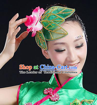 Traditional Handmade Chinese Yangge Fan Dancing Classical Hair Accessories, Folk Dance Yangko Peacock Dance Lotus Headwear For Women