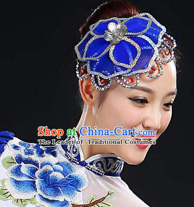 Traditional Handmade Chinese Yangge Fan Dancing Classical Hair Accessories, Folk Dance Yangko Peacock Dance Peony Headwear For Women