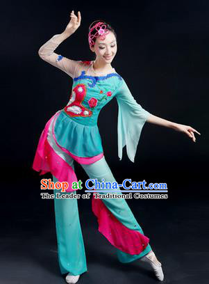 Traditional Chinese Yangge Fan Dancing Costume, Folk Dance Yangko Costume Drum Lotus Dance Blue Clothing for Women