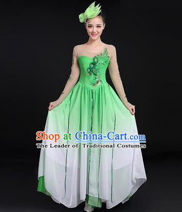Traditional Chinese Modern Dancing Costume, Women Opening Classic Chorus Singing Group Dance Costume, Modern Dance Big Swing Dress for Women
