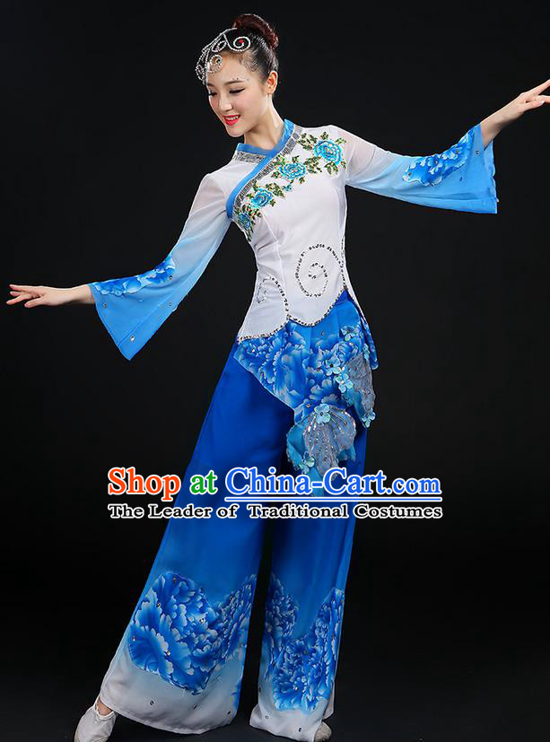 Traditional Chinese Yangge Fan Dancing Costume, Folk Dance Yangko Blue and White Porcelain Uniforms, Classic Dance Cheongsam Dress Drum Dance Blue Clothing for Women