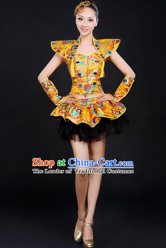 Traditional Chinese Modern Dancing Compere Costume, Women Opening Classic Chorus Singing Group Dance Dragon Uniforms, Modern Dance Classic Dance Bubble Cheongsam Dress for Women