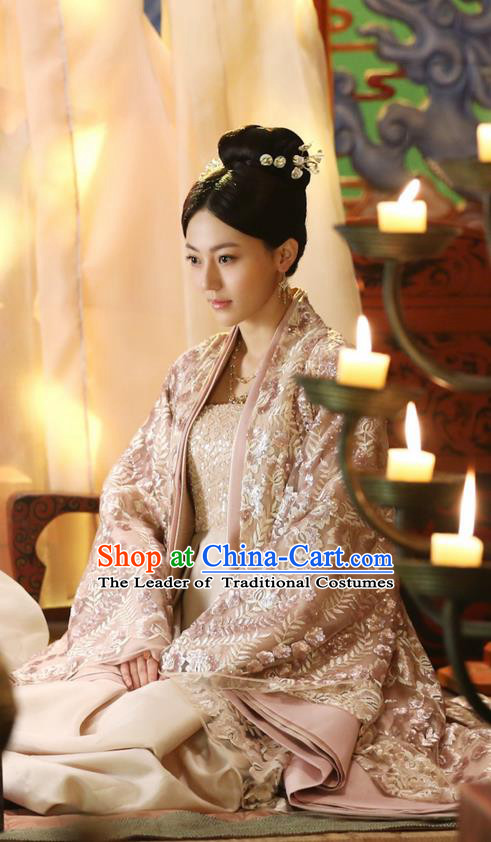 Traditional Ancient Chinese Imperial Consort Costume, Elegant Hanfu Fairy Clothing Chinese Teleplay Ten great III of peach blossom Role Su Jin Han Dynasty Imperial Concubine Tailing Embroidered Clothing for Women