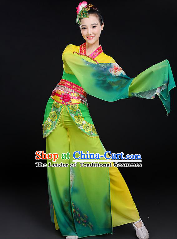 Traditional Chinese Yangge Fan Dancing Costume, Folk Dance Yangko Water Sleeve Uniforms, Classic Umbrella Dance Elegant Dress Drum Dance Green Clothing for Women