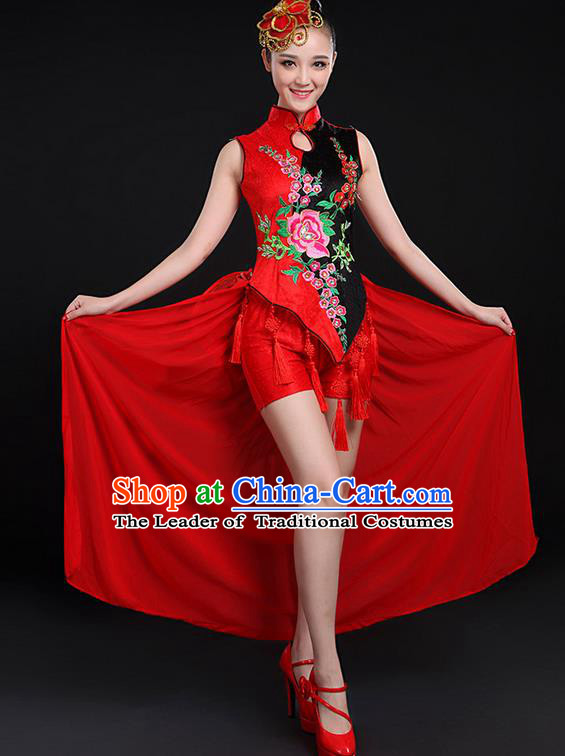 Traditional Chinese Yangge Fan Dancing Costume, Folk Dance Yangko Embroidered Uniforms, Classic Umbrella Dance Elegant Dress Drum Dance Cheongsam Red Clothing for Women