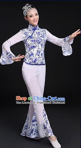 Traditional Chinese Yangge Fan Dancing Costume, Folk Dance Yangko Blue and White Porcelain Uniforms, Classic Umbrella Dance Elegant Mandarin Sleeve Dress Drum Dance Clothing for Women