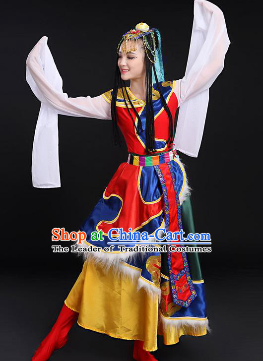 Traditional Chinese Mongol Nationality Dancing Costume, Mongols Female Folk Dance Ethnic Long Water-Sleeve Dress, Chinese Mongolian Minority Nationality Embroidery Costume for Women