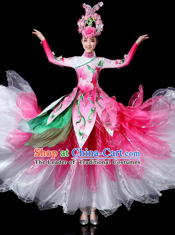 Traditional Chinese Dancing Costume and Headwear Complete Set, Women Opening Classic Chorus Singing Group Dance Lotus Uniforms Classic Dance Big Swing Pink Dress for Women