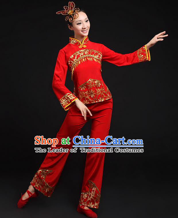 Traditional Chinese Yangge Fan Dancing Costume, Folk Dance Yangko Gilding Paillette Uniforms, Classic Umbrella Dance Elegant Dress Drum Dance Red Clothing for Women