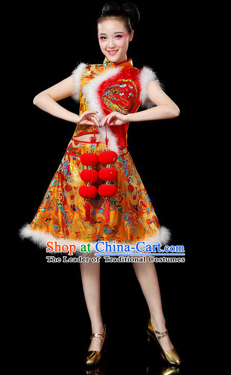 Traditional Chinese Yangge Fan Dancing Costume, Folk Dance Yangko Embroidered Dragon Satin Red Uniforms, Classic Umbrella Dance Elegant Dress Drum Dance Clothing for Women