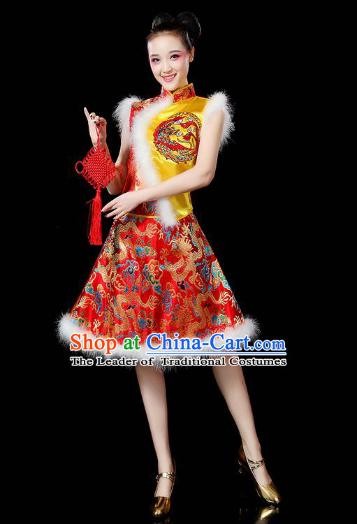 Traditional Chinese Yangge Fan Dancing Costume, Folk Dance Yangko Embroidered Dragon Satin Gold Uniforms, Classic Umbrella Dance Elegant Dress Drum Dance Clothing for Women