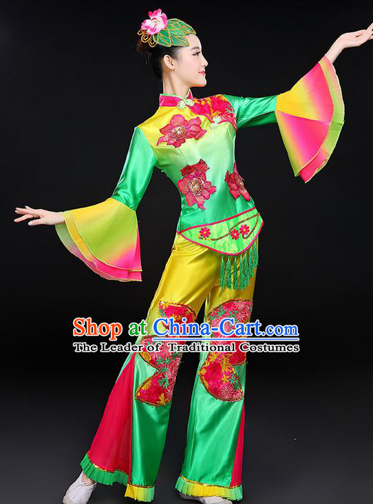 Traditional Chinese Yangge Fan Dancing Costume, Folk Dance Yangko Lotus Dance Mandarin Sleeve Satin Uniforms, Classic Umbrella Dance Elegant Dress Drum Dance Clothing for Women