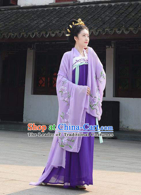 Traditional Ancient Chinese Young Lady Costume Embroidered Blouse and Skirt Complete Set , Elegant Hanfu Suits Clothing Chinese Tang Dynasty Imperial Princess Dress Clothing for Women