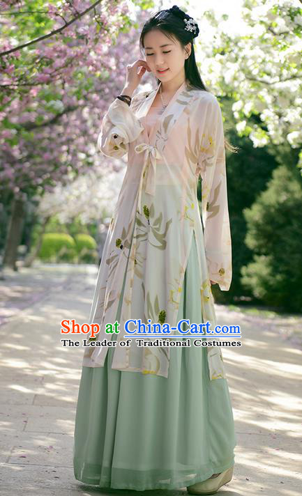 Traditional Ancient Chinese Young Lady Costume BeiZi Cardigan Blouse and Green Skirt Complete Set , Elegant Hanfu Clothing Chinese Song Dynasty Imperial Princess Clothing for Women