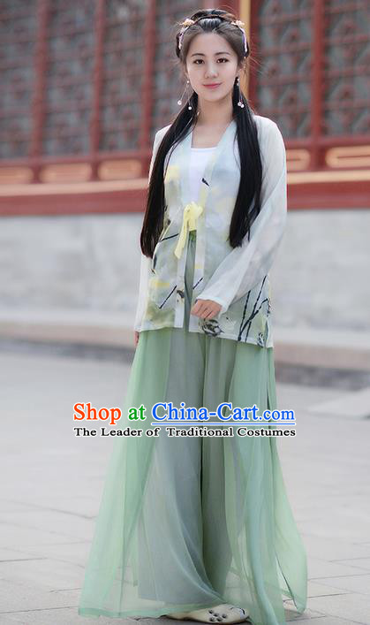 Traditional Ancient Chinese Young Lady Costume BeiZi Cardigan and Green Song Pants Complete Set , Elegant Hanfu Clothing Chinese Song Dynasty Imperial Princess Clothing for Women