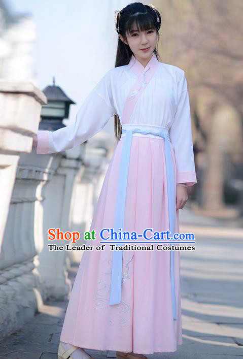 Traditional Ancient Chinese Young Lady Elegant Costume Embroidered Lotus Slant Opening Blouse and Pink Slip Skirt Complete Set , Elegant Hanfu Clothing Chinese Jin Dynasty Imperial Princess Clothing for Women