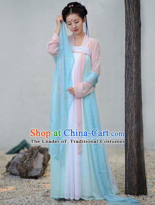 Traditional Ancient Chinese Young Lady Costume Embroidered Blouse and Slip Skirt Complete Set, Elegant Hanfu Suits Clothing Chinese Tang Dynasty Imperial Princess Dress Clothing for Women