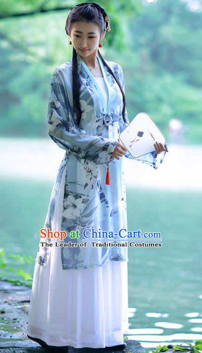 Traditional Ancient Chinese Young Lady Costume Long BeiZi Blouse Boob Tube Top and Slip Skirt Complete Set, Elegant Hanfu Suits Clothing Chinese Tang Dynasty Imperial Princess Dress Clothing for Women
