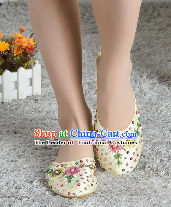 Traditional Chinese Shoes, China Handmade Linen Embroidered Beads Sequins Apricot Slippers, Ancient Princess Satin Cloth Shoes for Women