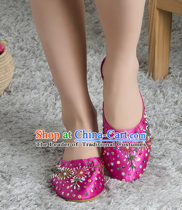 Traditional Chinese Shoes, China Handmade Linen Embroidered Beads Sequins Rose Slippers, Ancient Princess Satin Cloth Shoes for Women