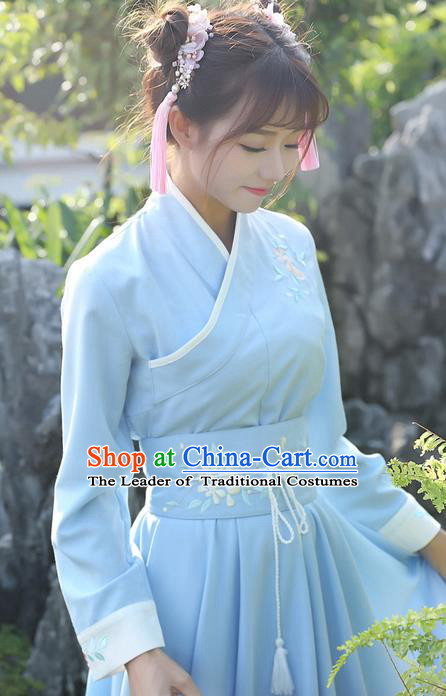 Traditional Ancient Chinese Young Lady Elegant Embroidered Blue Belt for Women