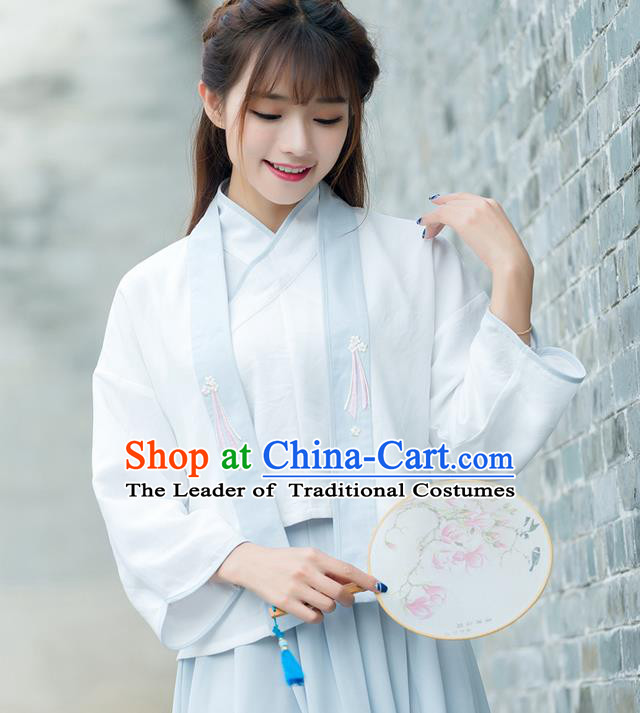 Traditional Ancient Chinese Costume, Elegant Hanfu Clothing Embroidered Slant Opening Blouse and Cardigan, China Han Dynasty Princess Elegant Cardigan for Women