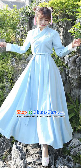 Traditional Ancient Chinese Costume, Elegant Hanfu Clothing Embroidered Slant Opening Blue Dress, China Han Dynasty Princess Elegant Clothing for Women