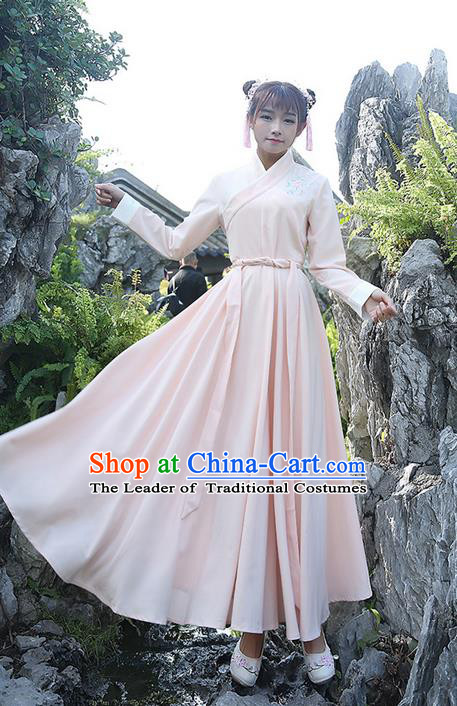 Traditional Ancient Chinese Costume, Elegant Hanfu Clothing Embroidered Slant Opening Pink Dress, China Han Dynasty Princess Elegant Clothing for Women
