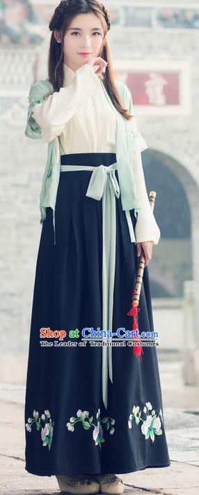 Traditional Ancient Chinese Costume, Elegant Hanfu Clothing Embroidered Green Half-Sleeves, China Han Dynasty Princess Elegant Clothing for Women