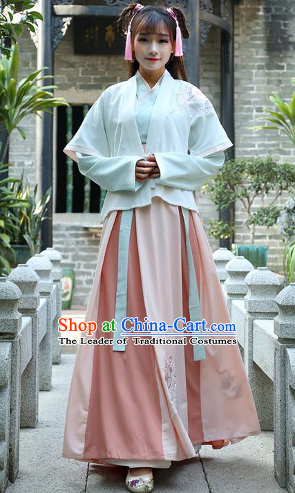 Traditional Ancient Chinese Young Lady Costume Embroidered Half-Sleeves Cardigan Blouse and Slip Skirt, Elegant Hanfu Suits Clothing Chinese Ming Dynasty Imperial Princess Dress Clothing for Women