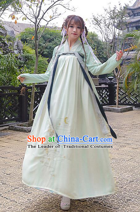 Traditional Ancient Chinese Costume, Elegant Hanfu Clothing Embroidered Slant Opening Green Blouse and Slip Dress, China Tang Dynasty Princess Elegant Blouse and Skirt Complete Set for Women
