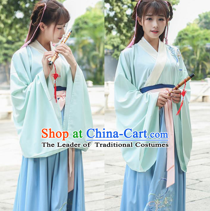 Traditional Ancient Chinese Young Lady Costume Embroidered Wide Sleeve Cardigan Blouse Belt and Slip Skirt Complete Set, Elegant Hanfu Suits Clothing Chinese Tang Dynasty Imperial Princess Dress Clothing for Women