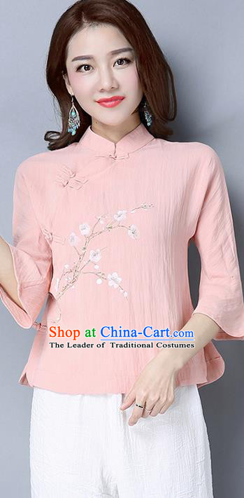 Traditional Chinese National Costume, Elegant Hanfu Embroidered Flowers Mandarin Sleeve Pink T-Shirt, China Tang Suit Republic of China Plated Buttons Chirpaur Blouse Cheong-sam Upper Outer Garment Qipao Shirts Clothing for Women