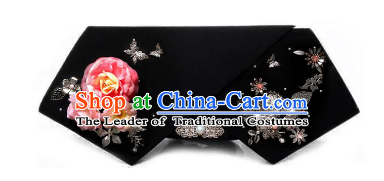 Traditional Ancient Chinese Hair Jewellery Accessories, Chinese Qing Dynasty Manchu Palace Lady Headwear Zhen Huan Big La fin Pink Flowers Headpiece, Chinese Mandarin Imperial Concubine Flag Head Hat Decoration Accessories for Women