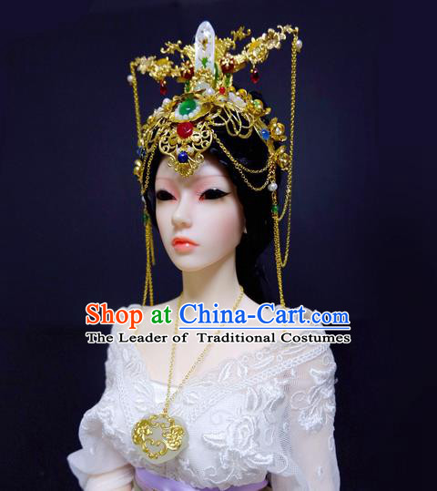 Traditional Handmade Chinese Ancient Classical Hair Accessories Empress Barrettes Phoenix Coronet Complete Set, Hair Sticks Hair Jewellery, Hair Fascinators Hairpins for Women