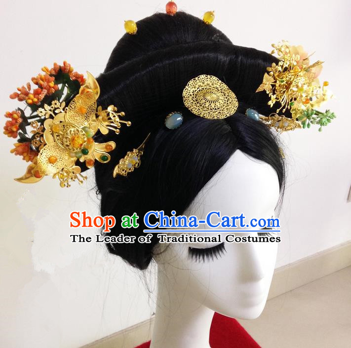 Traditional Ancient Chinese Imperial Consort Hair Jewellery Accessories, Chinese Qing Dynasty Manchu Palace Lady Headwear Zhen Huan Wig and Big La fin Headpiece, Chinese Mandarin Imperial Concubine Flag Head Hat Decoration Accessories for Women