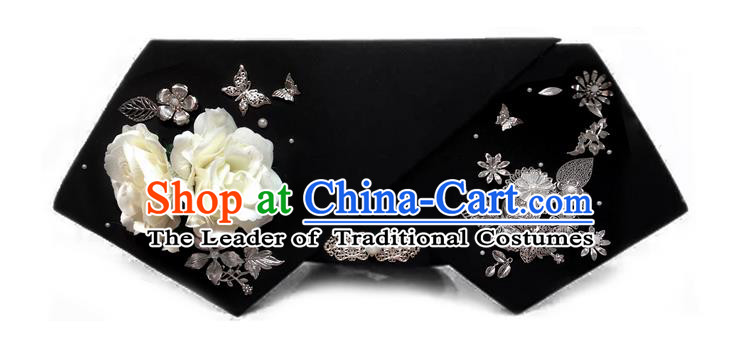 Traditional Ancient Chinese Hair Jewellery Accessories, Chinese Qing Dynasty Manchu Palace Lady Headwear Zhen Huan Big La fin White Flowers Headpiece, Chinese Mandarin Imperial Concubine Flag Head Hat Decoration Accessories for Women