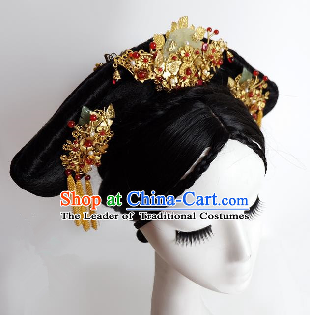 Traditional Handmade Chinese Ancient Classical Hair Accessories Bride Wedding Barrettes Xiuhe Suit Hairpin Complete Set, Hanfu Princess Wedding Hair Sticks Hair Jewellery, Hair Fascinators Hairpins for Women