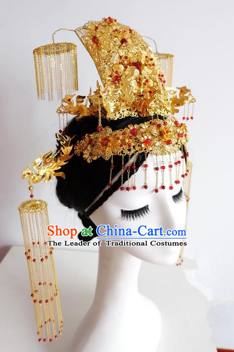 Traditional Handmade Chinese Ancient Classical Hair Tassel Accessories Bride Wedding Barrettes Phoenix Coronet Complete Set, Xiuhe Suit Wedding Hair Sticks Hair Jewellery, Hair Fascinators Hairpins for Women