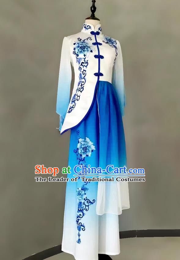 Traditional Chinese Ancient Peking Opera Water Sleeve Dancing Costume, Blue and White Porcelain Classical Folk Dance Costume Lotus Dance Clothing for Women