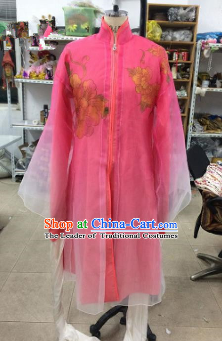 Traditional Chinese Ancient Peking Opera Diva Water Sleeve Dancing Pink Costume, Classical Folk Dance Costume Drum Dance Clothing for Women