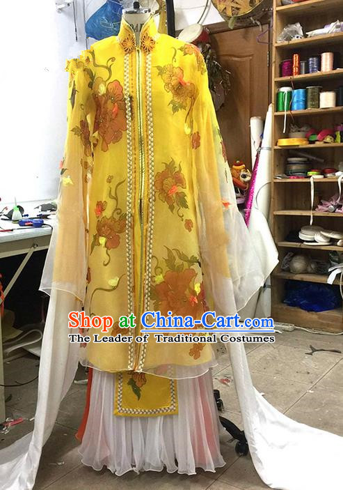 Traditional Chinese Ancient Peking Opera Diva Water Sleeve Dancing Yellow Costume, Classical Folk Dance Costume Drum Dance Clothing for Women