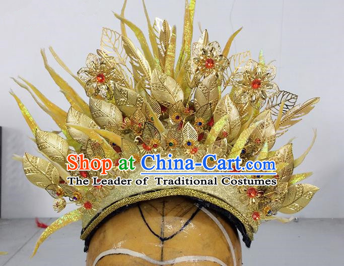 Traditional Ancient Thailand Kingdom Classical Queen Hair Accessories Props, Indonesia Empress Headwear Hair Ornaments Royal Crown for Women