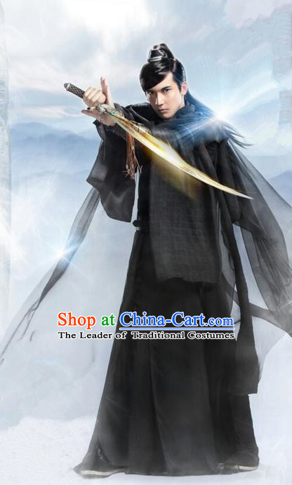 Traditional Ancient Chinese Elegant Swordsman Costume, Chinese Ancient General Dress, Cosplay Chinese Television Drama Flying Daggers Chivalrous Expert Chinese Ming Dynasty Kawaler Hanfu Clothing for Men