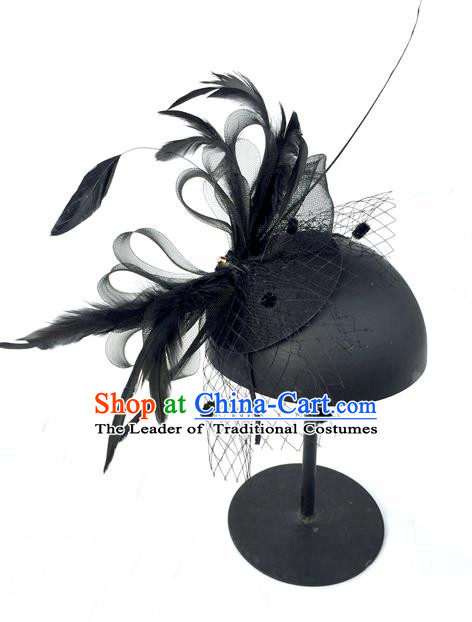 Top Grade Handmade Chinese Classical Hair Accessories, Children Baroque Style Princess Royal Black Top-hat, Hair Sticks Feather Hat for Kids Girls