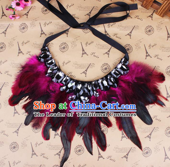 Top Grade Handmade Chinese Classical Accessories, Children Baroque Style Necklace, Full Dress Red Feather Torques Collar for Kids Girls
