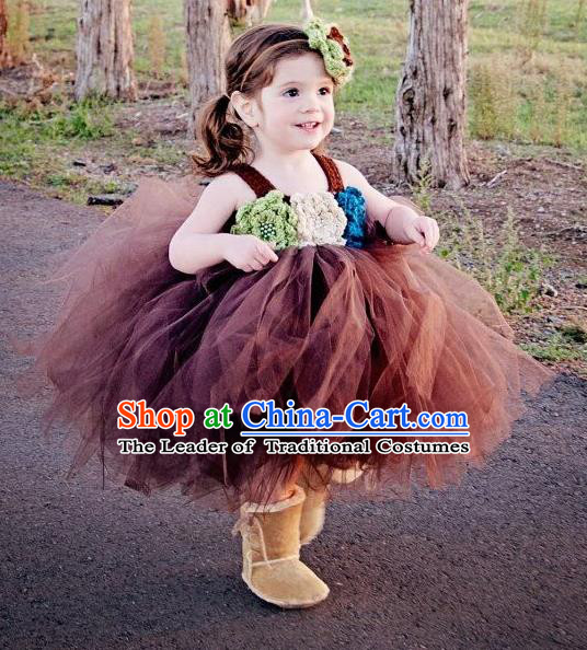 Traditional Chinese Modern Dancing Compere Performance Costume, Children Opening Classic Chorus Singing Group Dance Princess Bubble Full Dress, Modern Dance Halloween Party Dress for Girls Kids
