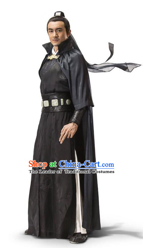 Traditional Ancient Chinese Elegant Swordsman Costume, Chinese Ancient Nobility Warrior General Dress, Cosplay Chinese Emprise Film Sword Master Chivalrous Expert Chinese Ming Dynasty Kawaler Hanfu Clothing for Men