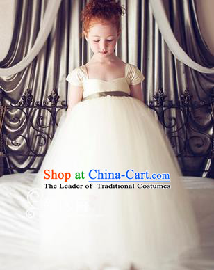 Traditional Chinese Modern Dancing Compere Costume, Children Opening Classic Chorus Singing Group Dance Princess White Veil Full Dress, Modern Dance Classic Dance Bubble Dress for Girls Kids