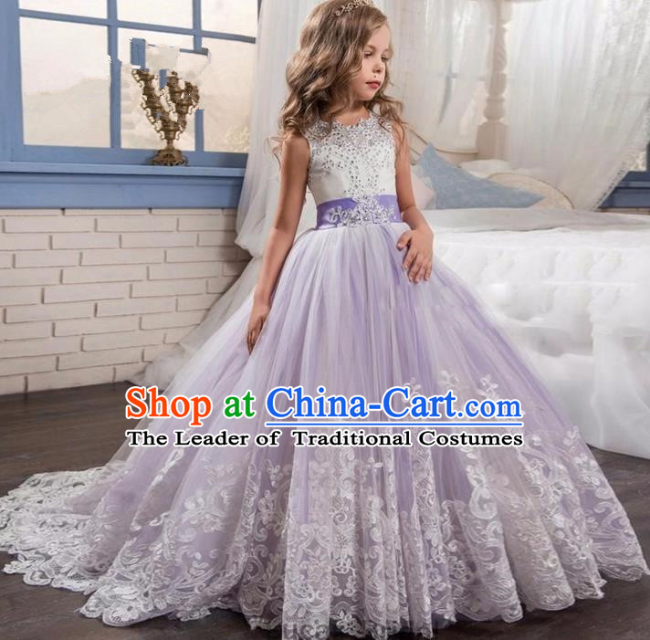 Top Grade Chinese Compere Performance Costume, Children Chorus Singing Group Purple Long Full Dress Modern Dance Big Swing Bubble Dress for Girls Kids